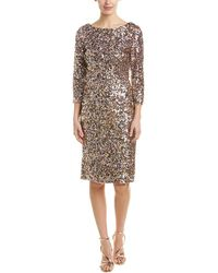 Adrianna Papell Short Column Sequin Dress With Boat Neckline - Pink