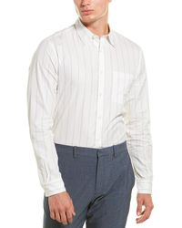 Theory Noll Polmo Stripe Silk-blend Woven Shirt - White
