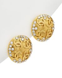 Chanel Gold-tone & Crystal 4 Cc Round Clip-on Earrings - Metallic
