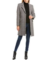 Cole Haan Single-breasted Double Face Wool-blend Coat - Black