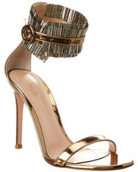 Gianvito Rossi 100 Ruffle Ankle Strap Leather Sandal - Metallic