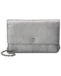 Chanel Silver Lambskin Leather Wallet On Chain - Metallic