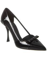 Dolce & Gabbana Polished Calfskin Pumps With Bow - Black