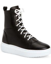 Aquatalia Logan Weatherproof Leather Sneaker - Black