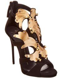 Giuseppe Zanotti Embellished Suede Sandal - Black
