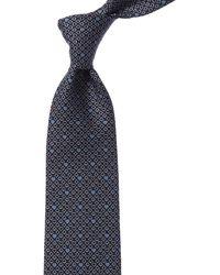Ferragamo Heart Card Suit Silk Classic Tie - Blue