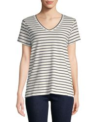 Saks Fifth Avenue Stripe V-neck Tee - Multicolour
