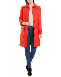 KENZO Straight Cut Wool Coat - Red