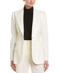 Dolce & Gabbana Peak Wool & Silk-blend Blazer - White