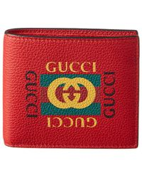 Gucci - Logo Print Leather Bifold Coin Wallet - Lyst