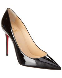 Christian Louboutin Pigalle 100 Black Patent Leather Court Shoes
