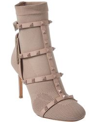 Valentino Rockstud 90 Stretch Knit Leather-trimmed Bootie - Natural