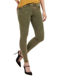 Hue Washed Twill Leggings - Green