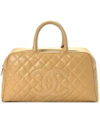 Chanel Beige Quilted Leather Bag - Natural