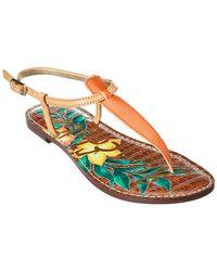 cae107366 Sam Edelman - Gigi Lizard Print Floral Leather Thong Sandals - Lyst