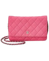 Chanel Pink Quilted Caviar Leather Wallet On Chain