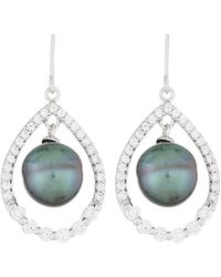 Splendid Silver 9-10mm Tahitian Pearl Dangling Earrings - Multicolour