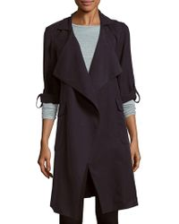Saks Fifth Avenue Black Long-sleeve Tie-waist Coat - Blue