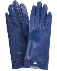 Hermès Blue Leather Gloves, Size 6.5