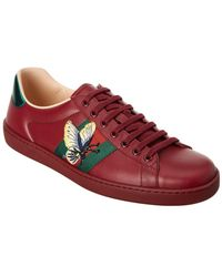 Gucci - Ace Butterfly Embroidered Leather Sneaker - Lyst