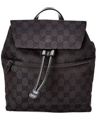 Gucci Black GG Canvas & Leather Backpack