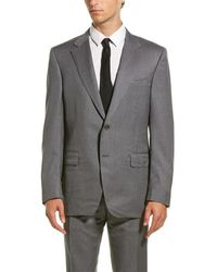 Canali Wool Suit With Flat Front Pant - Gray