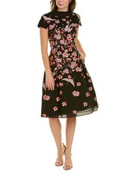 Teri Jon By Rickie Freeman Jacquard A-line Dress - Black