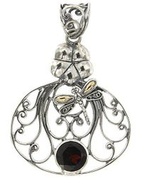 Samuel B. Jewelry 18k & Silver 2.50 Ct. Tw. Garnet Dragonfly Pendant - Metallic
