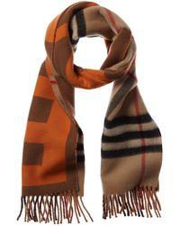 Burberry Vintage Check B Motif Wool & Cashmere-blend Scarf - Orange