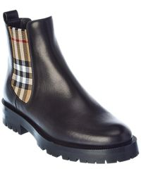 Burberry Vintage Check Detail Leather Chelsea Boot - Black