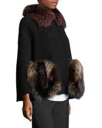 AQUILANO.RIMONDI Fox Fur & Virgin Wool Cape Coat