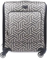 Gucci Beige GG Canvas & Black Leather Caleido Carry-on Suitcase