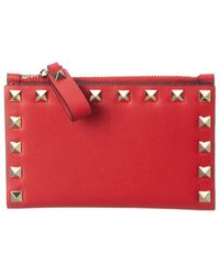 Valentino Garavani Rockstud Leather Card Holder - Red