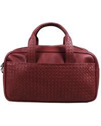 Bottega Veneta Red Intrecciato Nylon Weekender Bag