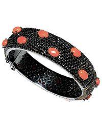 Arthur Marder Fine Jewelry Silver Black Spinel & Coral Bracelet