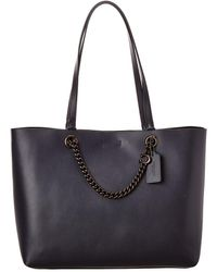COACH Chain Convertible Leather Tote - Blue