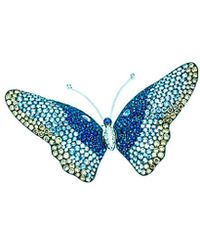 Arthur Marder Fine Jewelry 18k 12.50 Ct. Tw. Diamond & Sapphire Butterfly Brooch - Blue