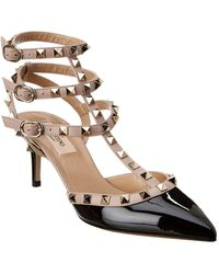 Valentino Rockstud Caged 65 Patent Ankle Strap Pump - Black