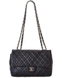 Chanel Navy Quilted Lambskin Leather Jumbo Double Flap Bag - Blue
