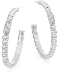"""John Hardy - Bedeg 0.30 Tcw Diamond & Sterling Silver Hoop Earrings/1.5"""" - Lyst"""