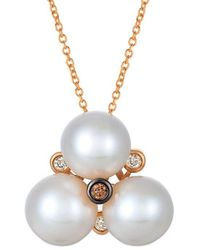 Le Vian ? Chocolatier? 14k Strawberry Gold Diamond 8-9mm Pearl Necklace - Metallic