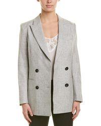 Reiss Logan Wool & Linen-blend Longline Jacket - Gray