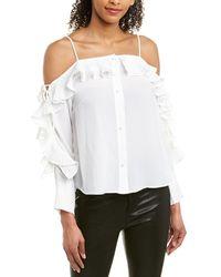 Gracia Ruffle Trim Cold Shoulder Blouse - White
