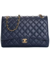 Chanel Dark Blue Quilted Caviar Leather Maxi Classic Single Flap Bag