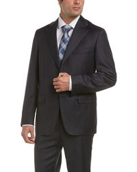 Canali Wool Suit With Flat Front Pant - Black