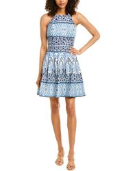Vince Camuto Halter Printed Fit & Flare Scuba Dress - Blue