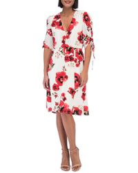 Bobeau - Floral Ruched-sleeve Dress - Lyst
