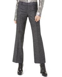 Michael Kors Met Wool Crop Wool-blend Flare Leg - Black