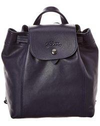 Longchamp Le Pliage Cuir Xs Leather Backpack - Blue