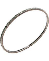 Karma Jewels - Silver & Tsavorite Bangle Bracelet - Lyst